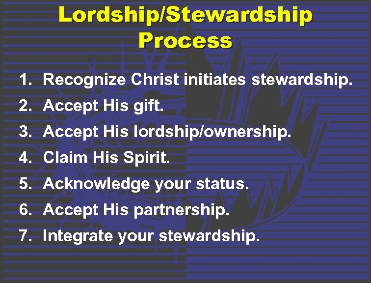 Lordship/Stewardship Process 1. Recognize Christ initiates stewardship. 2. Accept His gift. 3. Accept His