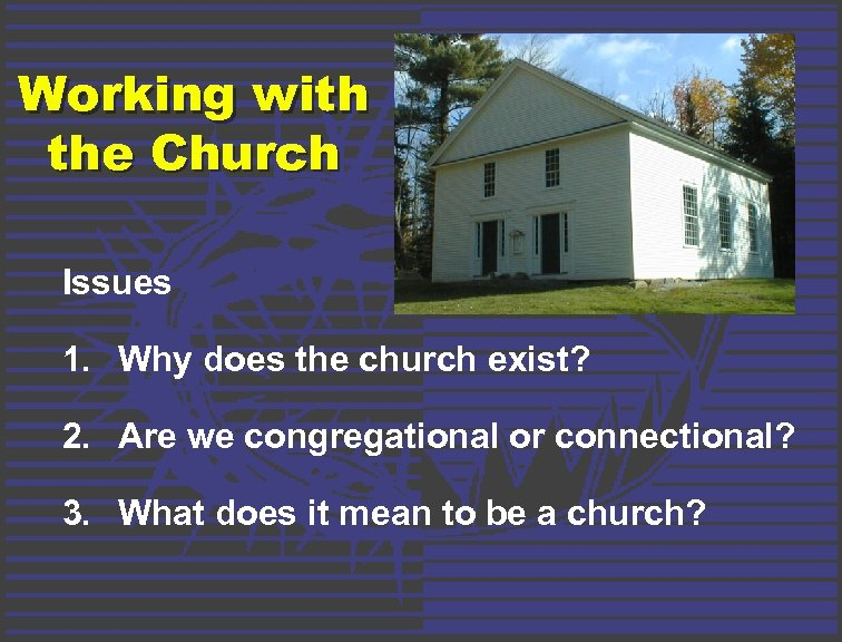 Working with the Church Issues 1. Why does the church exist? 2. Are we