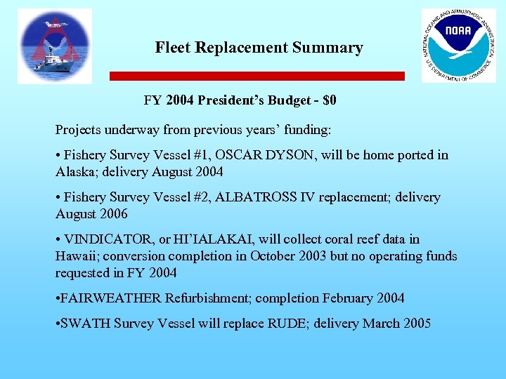 Fleet Replacement Summary FY 2004 President's Budget - $0 Projects underway from previous years'