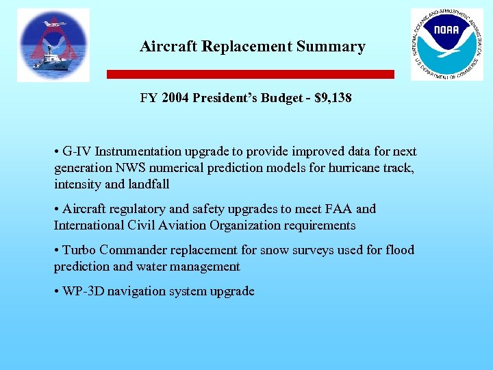 Aircraft Replacement Summary FY 2004 President's Budget - $9, 138 • G-IV Instrumentation upgrade
