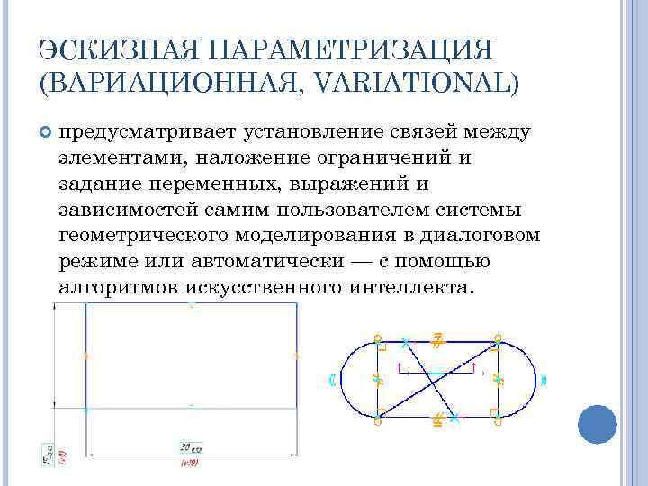 ЭСКИЗНАЯ ПАРАМЕТРИЗАЦИЯ (ВАРИАЦИОННАЯ, VARIATIONAL) предусматривает установление связей между элементами, наложение ограничений и задание переменных,