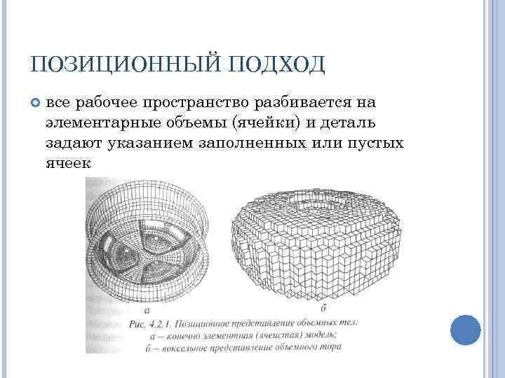 ПОЗИЦИОННЫЙ ПОДХОД все рабочее пространство разбивается на элементарные объемы (ячейки) и деталь задают указанием