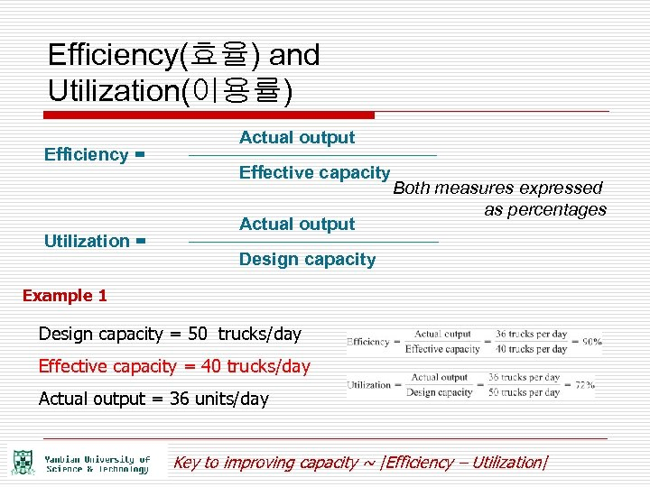 Efficiency(효율) and Utilization(이용률) Efficiency = Utilization = Actual output Effective capacity Actual output Both