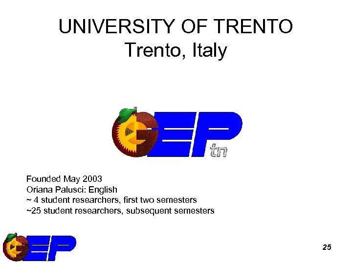 UNIVERSITY OF TRENTO Trento, Italy Founded May 2003 Oriana Palusci: English ~ 4 student