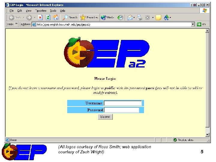 Online Database – login (All logos courtesy of Ross Smith; web application courtesy of