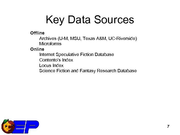 Key Data Sources Offline Archives (U-M, MSU, Texas A&M, UC-Riverside) Microforms Online Internet Speculative