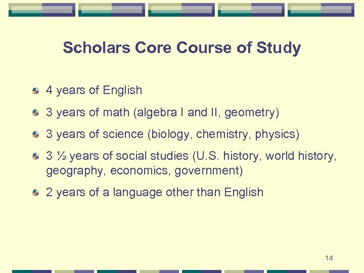 Scholars Core Course of Study 4 years of English 3 years of math (algebra