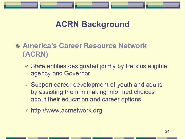 ACRN Background America's Career Resource Network (ACRN) ü State entities designated jointly by Perkins