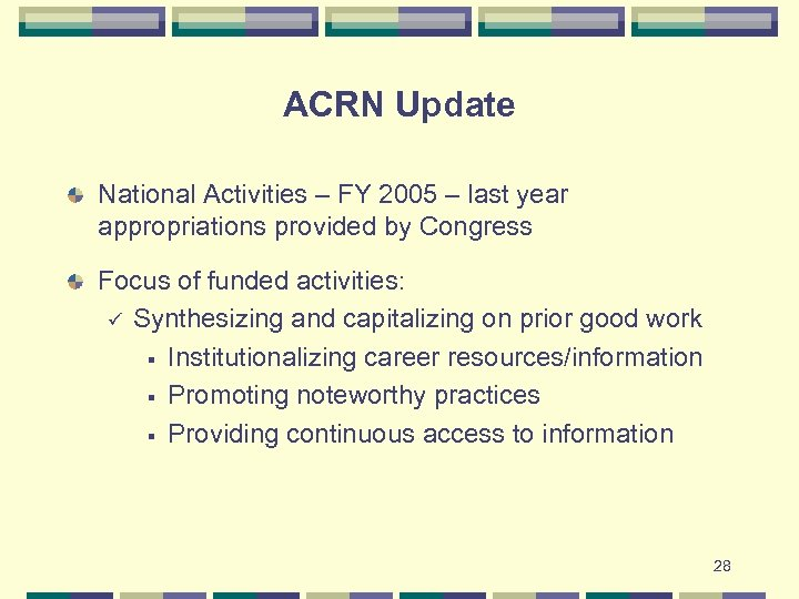 ACRN Update National Activities – FY 2005 – last year appropriations provided by Congress