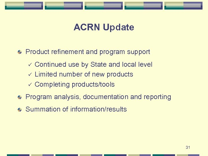 ACRN Update Product refinement and program support ü ü ü Continued use by State