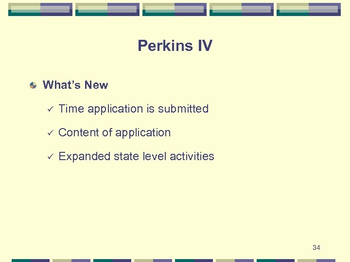 Perkins IV What's New ü Time application is submitted ü Content of application ü