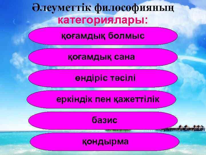 Әлеуметтік философияның категориялары: қоғамдық болмыс қоғамдық сана өндіріс тәсілі еркіндік пен қажеттілік базис қондырма