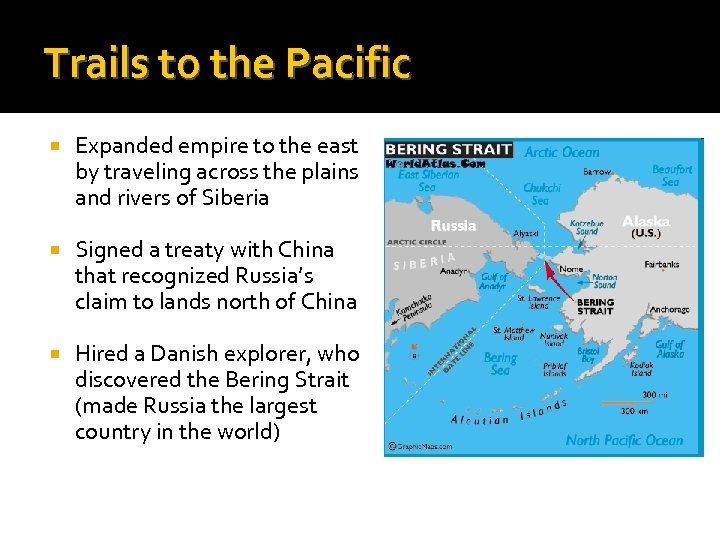 Trails to the Pacific Expanded empire to the east by traveling across the plains