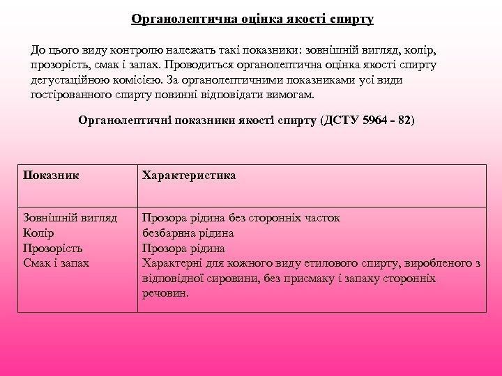 Органолептична оцінка якості спирту До цього виду контролю належать такі показники: зовнішній вигляд, колір,