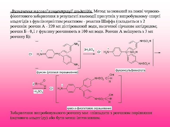 -Визначення масової концентрації альдегідів. Метод заснований на появі червонофіолетового забарвлення в результаті взаємодії присутніх