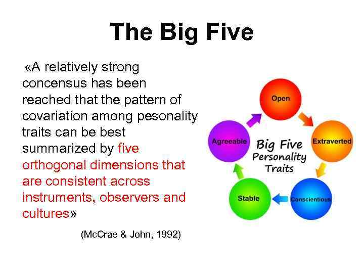 The Big Five «A relatively strong concensus has been reached that the pattern of