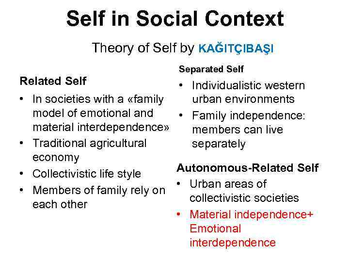 Self in Social Context Theory of Self by KAĞITÇIBAŞI Separated Self Related Self •