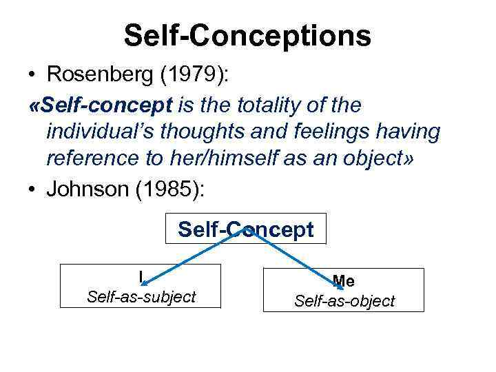 Self-Conceptions • Rosenberg (1979): «Self-concept is the totality of the individual's thoughts and feelings