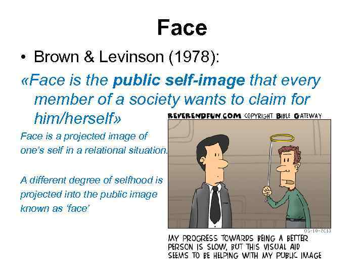 Face • Brown & Levinson (1978): «Face is the public self-image that every member