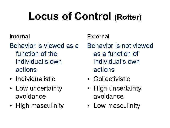 Locus of Control (Rotter) Internal External Behavior is viewed as a function of the