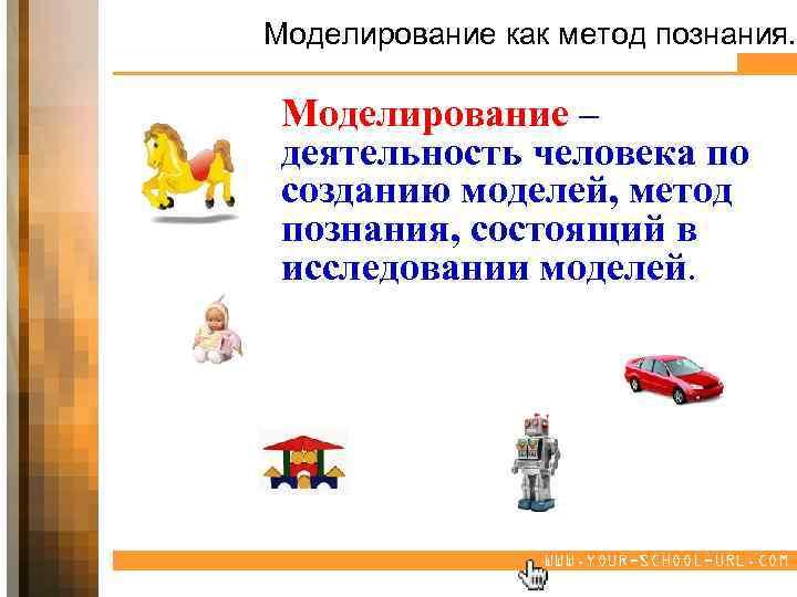 Моделирование как метод познания. Моделирование – деятельность человека по созданию моделей, метод познания, состоящий