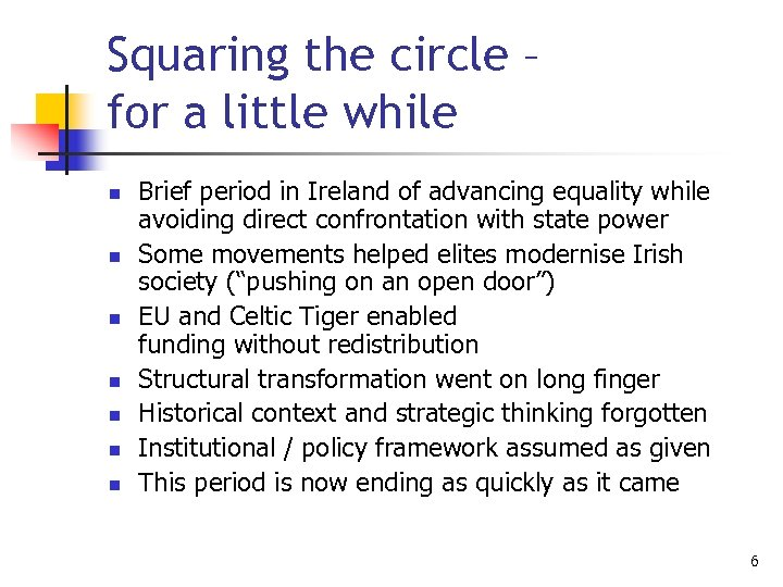 Squaring the circle – for a little while n n n n Brief period