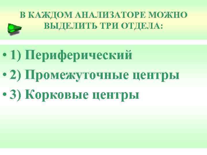 В КАЖДОМ АНАЛИЗАТОРЕ МОЖНО ВЫДЕЛИТЬ ТРИ ОТДЕЛА: • 1) Периферический • 2) Промежуточные центры