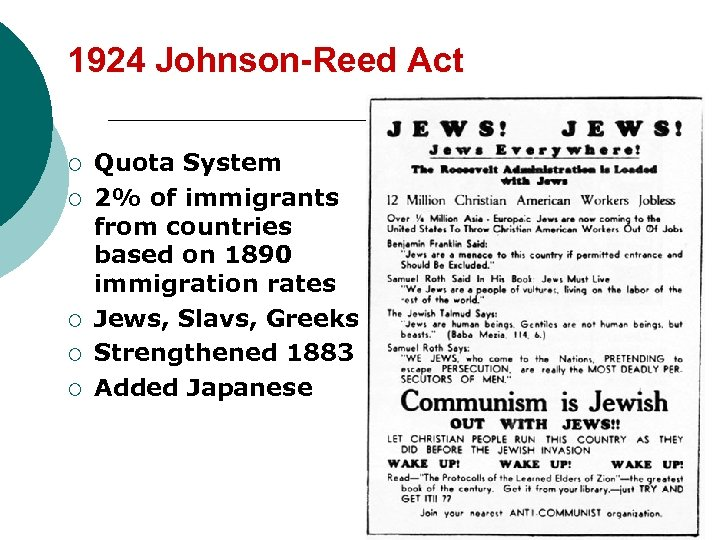 1924 Johnson-Reed Act ¡ ¡ ¡ Quota System 2% of immigrants from countries based