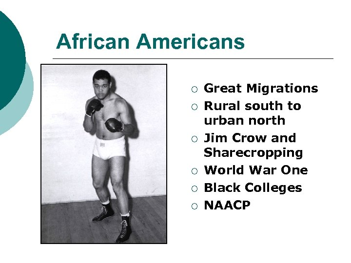 African Americans ¡ ¡ ¡ Great Migrations Rural south to urban north Jim Crow