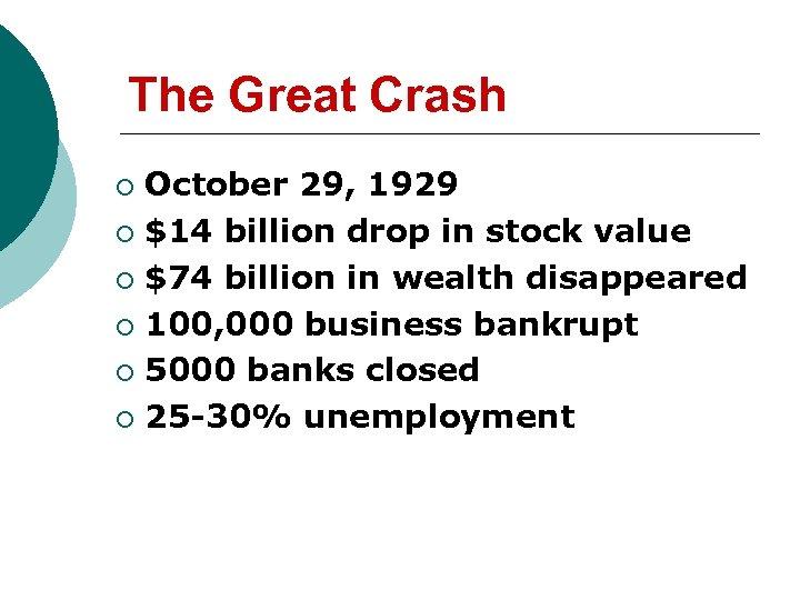 The Great Crash October 29, 1929 ¡ $14 billion drop in stock value ¡