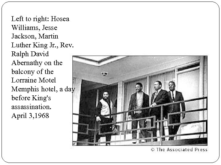 Left to right: Hosea Williams, Jesse Jackson, Martin Luther King Jr. , Rev. Ralph