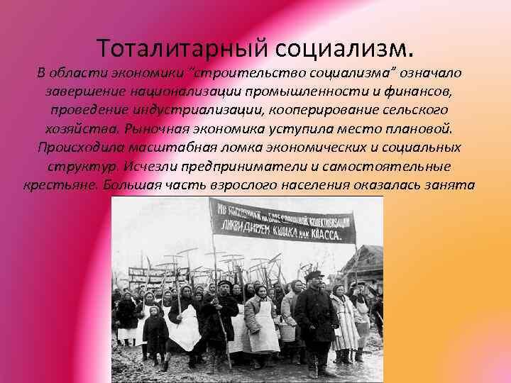 """Тоталитарный социализм. В области экономики """"строительство социализма"""" означало завершение национализации промышленности и финансов, проведение"""