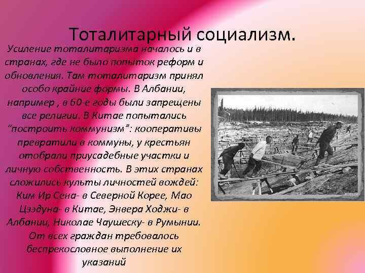 Тоталитарный социализм. Усиление тоталитаризма началось и в странах, где не было попыток реформ и