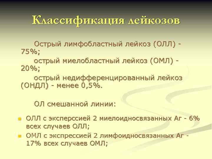 Классификация лейкозов Острый лимфобластный лейкоз (ОЛЛ) 75%; острый миелобластный лейкоз (ОМЛ) 20%; острый недифференцированный