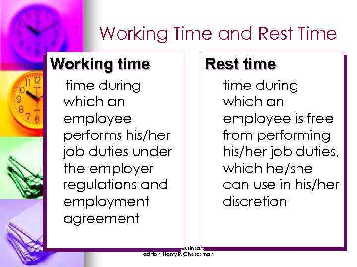 Working Time and Rest Time Working time during which an employee performs his/her job