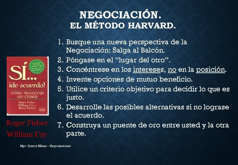 NEGOCIACIÓN. EL MÉTODO HARVARD. Roger Fisher William Ury 1. Busque una nueva perspectiva de