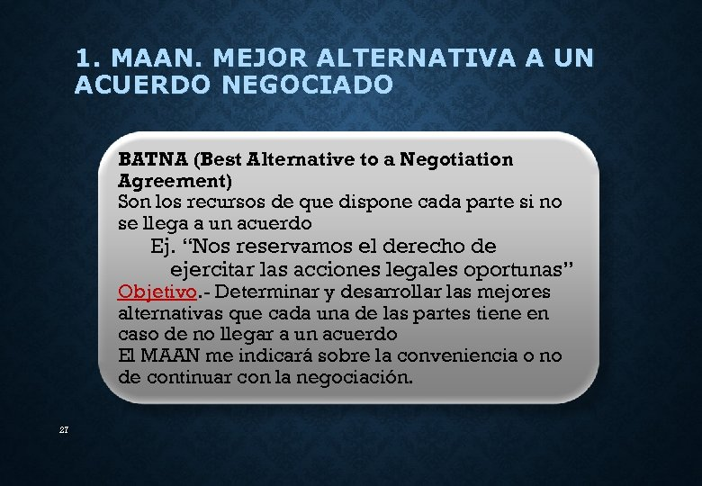 1. MAAN. MEJOR ALTERNATIVA A UN ACUERDO NEGOCIADO BATNA (Best Alternative to a Negotiation