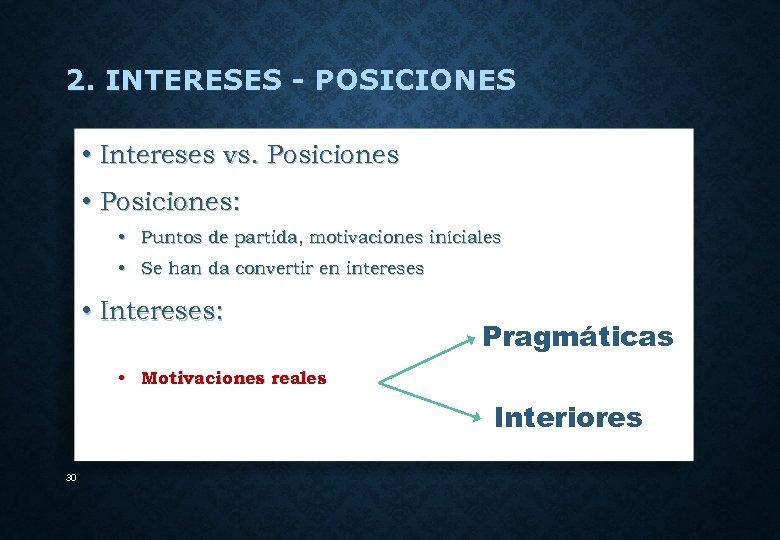 2. INTERESES - POSICIONES • Intereses vs. Posiciones • Posiciones: • Puntos de partida,