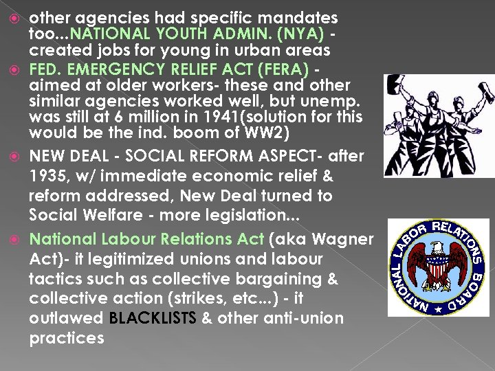 other agencies had specific mandates too. . . NATIONAL YOUTH ADMIN. (NYA) created jobs