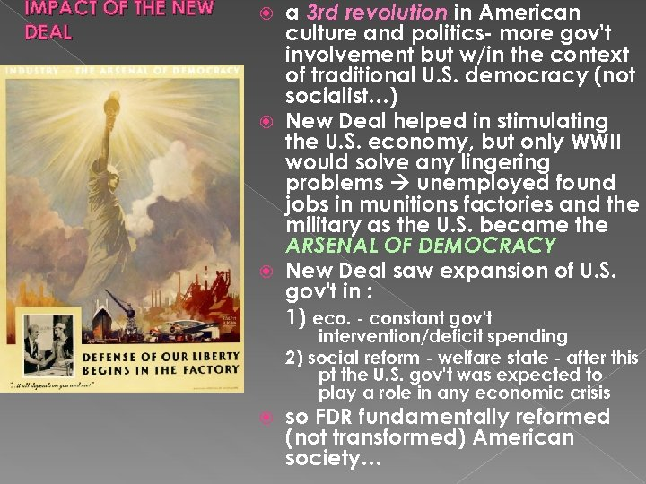 IMPACT OF THE NEW DEAL a 3 rd revolution in American culture and politics-