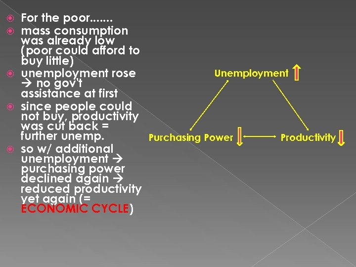 For the poor. . . . mass consumption was already low (poor could afford