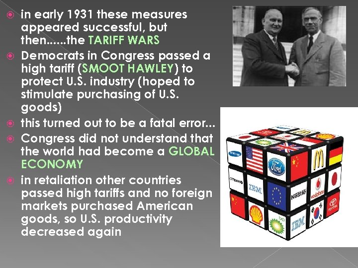 in early 1931 these measures appeared successful, but then. . . the TARIFF