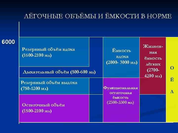 ЛЁГОЧНЫЕ ОБЪЁМЫ И ЁМКОСТИ В НОРМЕ 6000 Резервный объём вдоха (1600 -2100 мл) Ёмкость