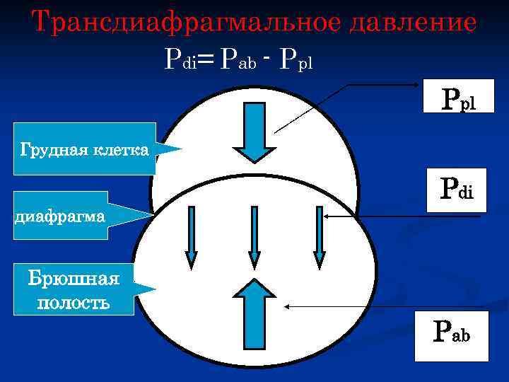 Трансдиафрагмальное давление Pdi= Pab - Ppl Грудная клетка Pdi диафрагма Брюшная полость Pab