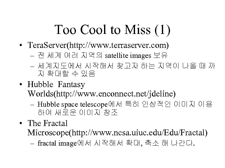 Too Cool to Miss (1) • Tera. Server(http: //www. terraserver. com) – 전 세계