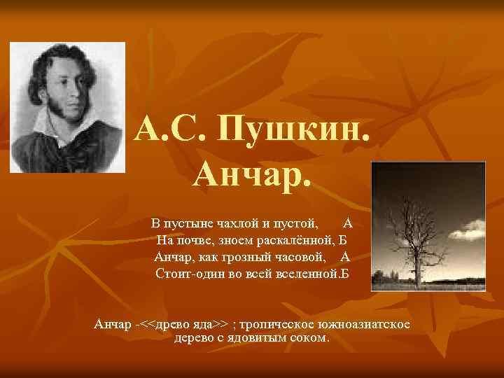 А. С. Пушкин. Анчар. В пустыне чахлой и пустой, А На почве, зноем раскалённой,