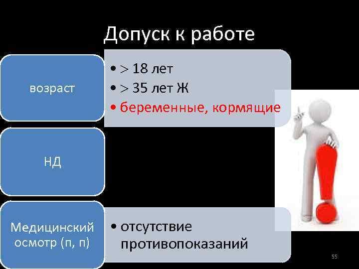 Допуск к работе возраст • 18 лет • 35 лет Ж • беременные, кормящие