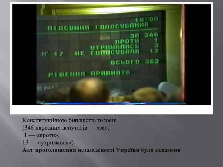 Конституційною більшістю голосів (346 народних депутатів — «за» , 1 — «проти» , 13