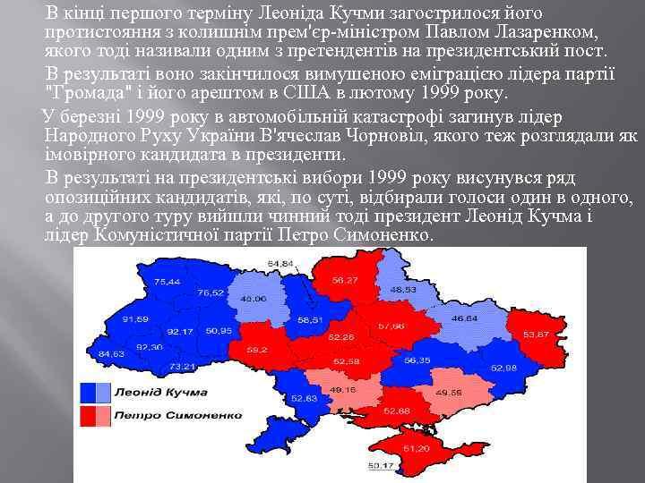 В кінці першого терміну Леоніда Кучми загострилося його протистояння з колишнім прем'єр-міністром Павлом