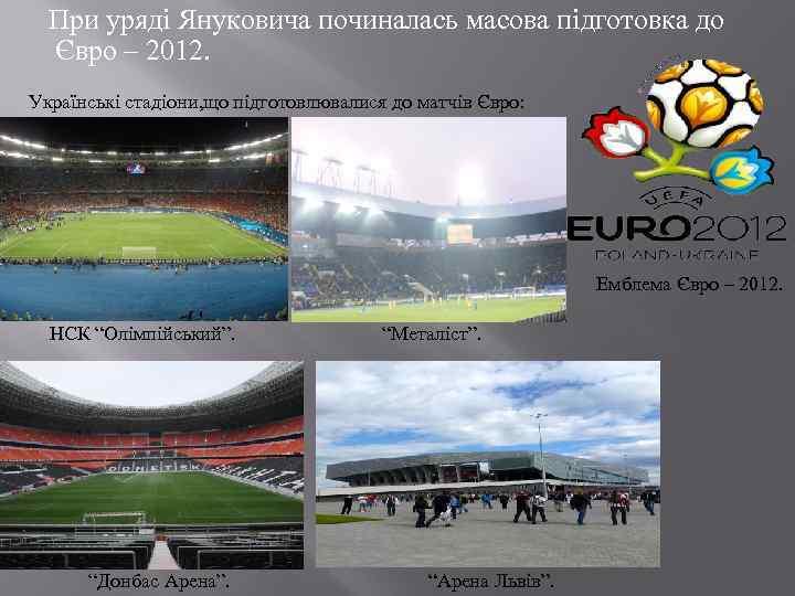 При уряді Януковича починалась масова підготовка до Євро – 2012. Українські стадіони, що
